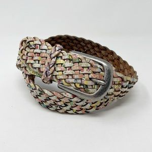 FOSSIL Floral Print Woven Leather Belt S Boho